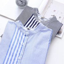 shirt Light blue navy S M L XL Spring of 2019 cotton 96% and above Long sleeves commute Regular stand collar Single row multi button routine stripe 18-24 years old Straight cylinder Snow Korean version Button Cotton 100% Pure e-commerce (online only)