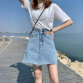 skirt Summer 2021 S M L XL wathet Short skirt commute High waist A-line skirt Solid color 18-24 years old yl6108 More than 95% Denim Wait for maple cotton Button Cotton 98% other 2%