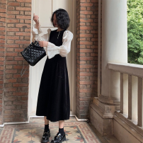 Dress Spring 2021 coffee M, L Short skirt Two piece set Long sleeves commute Crew neck middle-waisted Solid color Socket other routine 25-29 years old Type A Button, pocket, stitching Denim cotton