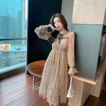 Dress Spring 2021 khaki Average size longuette Two piece set Long sleeves commute Crew neck middle-waisted Solid color Socket other routine 25-29 years old Type A Button, pocket, stitching Denim cotton