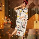 Pajamas / housewear set female Other / other M,L,XL,XXL 964,962,960,968,969 cotton Short sleeve Sweet Leisure home summer routine Crew neck Cartoon animation Socket youth one-piece garment pure cotton printing Jin Shangzhuang Middle-skirt