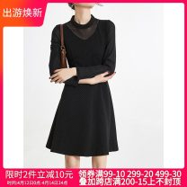 Dress Spring 2021 black L,XL,3XL,5XL,XS,M,6XL,S,4XL,2XL,F Short skirt singleton  Long sleeves other middle-waisted Socket routine 30-34 years old 9 Charms 9m