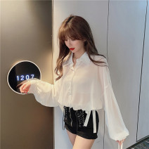 shirt White, black Average size Summer 2020 other 31% (inclusive) - 50% (inclusive) Long sleeves commute Polo collar Single row multi button Solid color Straight cylinder Play the flute Korean version