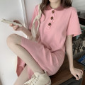 Women's large Summer 2021 Pink Black M L XL Dress singleton  commute easy thin Socket Short sleeve Solid color Korean version Polo collar Medium length cotton routine 13250453413.654076807383.78 Pose adjustment kiss 18-24 years old Button 31% (inclusive) - 50% (inclusive) longuette