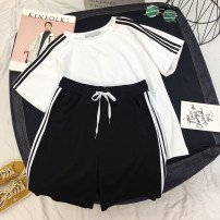 Casual suit Summer of 2018 White top + black shorts MLXLXXL 18-25 years old K618 Pose adjustment kiss Polyester 95% polyurethane elastic fiber (spandex) 5% Pure e-commerce (online only)