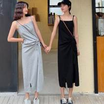 Dress Spring 2021 black , grey , q Average size singleton  Sleeveless commute One word collar High waist Solid color Socket One pace skirt routine camisole 18-24 years old Type H Other / other 91% (inclusive) - 95% (inclusive) other cotton