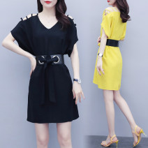 Women's large Summer 2021 Yellow, black Large XL, large XXL, large XXL, large XXXXL, large XXXXL, large L Dress singleton  commute Self cultivation thin Socket Short sleeve Solid color lady V-neck Polyester, cotton, others Three dimensional cutting 6086# 25-29 years old belt Medium length