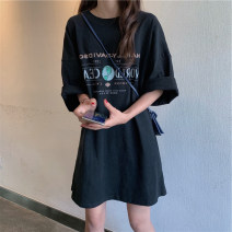 Women's large Summer of 2019 printing Large L Large XL s M singleton  commute Short sleeve letter Crew neck other routine Fashaxuan 18-24 years old 96% and above Short skirt Other 100% Pure e-commerce (online only)