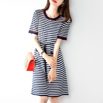 Dress Summer 2021 Graph color S,M,L,XL Middle-skirt singleton  Short sleeve commute Crew neck High waist stripe Socket A-line skirt routine Type A Other / other Korean version Frenulum 31% (inclusive) - 50% (inclusive) knitting wool