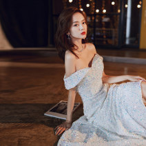 Dress / evening wear Party company annual meeting performance date XS S M L XL XXL 104-3 Beige Korean version longuette middle-waisted Winter of 2019 Fall to the ground One shoulder Bandage 18-25 years old YWR19275 Short sleeve Nail bead Solid color Yuwanru other Other 100% Exclusive payment of tmall