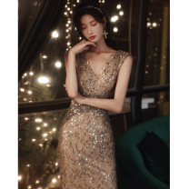 Dress / evening wear The company's annual convention performs daily appointments XS S M L XL XXL Picture color bf-1166-2 Korean version longuette middle-waisted Winter 2020 fish tail Deep collar V zipper 18-25 years old YWR20096 Sleeveless Embroidery Solid color Yuwanru other Other 100% other