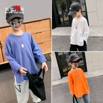 T-shirt Orange white navy blue size is not big enough Changing trend children 110cm 120cm 130cm 140cm 150cm 160cm male spring and autumn Long sleeves Crew neck leisure time There are models in the real shooting nothing Pure cotton (100% cotton content) Solid color Cotton 100% Cctx21108 Class B