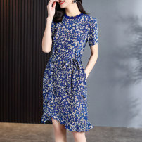 Dress Summer 2021 blue S M L XL Mid length dress singleton  Short sleeve commute Crew neck middle-waisted Decor Socket A-line skirt routine Others 30-34 years old Type A Binli / Binli Ol style printing BL73276 More than 95% silk Mulberry silk 100% Pure e-commerce (online only)