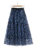 skirt Summer of 2019 S M L navy blue Mid length dress Versatile High waist A-line skirt Decor Type A 25-29 years old S2152 More than 95% Santa TiSA nylon Embroidery gauze Polyamide fiber (nylon) 100% Pure e-commerce (online only)