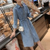 Dress Autumn of 2019 wathet S,M,L,XL Middle-skirt singleton  Long sleeves commute square neck High waist Solid color Single breasted A-line skirt routine Others 18-24 years old Type H Other / other Korean version Pockets, straps, buttons 81% (inclusive) - 90% (inclusive) Denim cotton