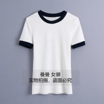 T-shirt white XS,S,M,L Summer 2021 Short sleeve Crew neck Self cultivation Regular routine commute cotton 51% (inclusive) - 70% (inclusive) Korean version youth Mosaic, geometric pattern, landscape, solid color Thread, splicing, lace up, three-dimensional decoration, color contrast