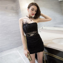 Dress Summer 2017 Black and white S M L Short skirt singleton  Sleeveless commute One word collar High waist Solid color Socket One pace skirt other Breast wrapping 18-24 years old Type H Fidowei Korean version Open back lace More than 95% Lace polyester fiber Other polyester 95% 5%