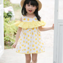 Dress female Hey, bamboo 80cm 90cm 100cm 110cm 120cm 130cm Other 100% summer Korean version Short sleeve other cotton Lotus leaf edge Class B Summer of 2018 12 months 18 months 2 years 3 years 4 years 5 years old