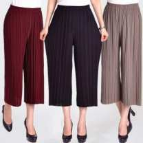 Casual pants Black, Burgundy, Navy, khaki, one size pantyhose. Random 2XL,3XL Summer 2020 Cropped Trousers Wide leg pants High waist Versatile Thin money 40-49 years old 91% (inclusive) - 95% (inclusive) Other / other