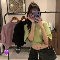 T-shirt Purple, green, black M,L,XL Spring 2021 Short sleeve Crew neck easy have cash less than that is registered in the accounts routine commute other 30% and below 18-24 years old Korean version other Solid color Other / other