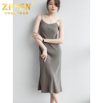 Dress Summer 2021 Olive S,M,L Mid length dress singleton  Sleeveless commute other High waist Solid color Socket other Others 30-34 years old Type X ZPPSN Simplicity C21041202 71% (inclusive) - 80% (inclusive) other Cellulose acetate