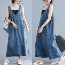 Dress Summer of 2019 blue Mid length dress singleton  Sleeveless commute V-neck Loose waist Solid color Socket Big swing straps Type A Other / other literature 81% (inclusive) - 90% (inclusive) Denim
