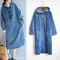 Dress Spring of 2018 Average size Mid length dress singleton  Long sleeves street Hood Loose waist Solid color Others Type H 51% (inclusive) - 70% (inclusive) Denim cotton Europe and America