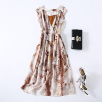 Dress Summer 2021 printing S,XL,L,M longuette Two piece set Sleeveless commute V-neck Loose waist Decor Socket A-line skirt other Others 30-34 years old Type A ethnic style Stitching, printing MA0103 More than 95% Crepe de Chine silk