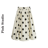 skirt Summer 2021 S,M,L White, apricot Mid length dress Retro High waist A-line skirt Type A 31% (inclusive) - 50% (inclusive) other Pocket, button, print