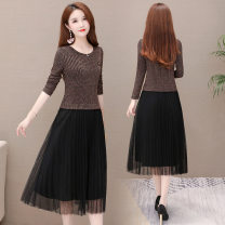 Dress Autumn of 2019 Solid ribbon stitching L XL 2XL 3XL 4XL Mid length dress singleton  Long sleeves commute Crew neck middle-waisted Solid color Socket Big swing routine Others 35-39 years old Princess Cathy Korean version Splicing mesh KSF19A519 More than 95% polyester fiber Other polyester 95% 5%