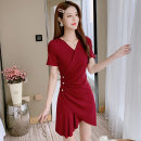 Dress Summer 2021 claret S M L XL Middle-skirt singleton  Short sleeve V-neck High waist Solid color Socket Irregular skirt other Others 25-29 years old Mo Xian Yi Asymmetric button with stitching thread More than 95% other Other 100% Pure e-commerce (online only)