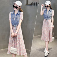 Dress Summer 2021 safflower S M L Mid length dress Fake two pieces Short sleeve commute Polo collar High waist Decor Socket One pace skirt routine Others 25-29 years old Type H 72 changes / 72 transformer Korean version Patchwork printing HLX026 More than 95% polyester fiber