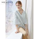 shirt Bright white light water green 155/80A 160/84A 165/88A 170/92A Summer of 2019 cotton 96% and above three quarter sleeve Sweet Regular V-neck pagoda sleeve Solid color 25-29 years old Straight cylinder Me&City Cotton 100% Same model in shopping mall (sold online and offline) princess