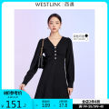 Dress Winter 2020 Black and white S M L XL Mid length dress singleton  Long sleeves commute V-neck Solid color Socket A-line skirt routine 25-29 years old Type A Westlink / Xiyu Simplicity 12001509Y 30% and below polyester fiber Viscose (viscose) 50% polyester 30% polyamide (nylon) 20%