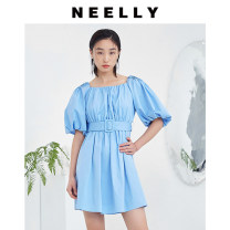 Dress Summer 2021 The sky is blue and white S M L XL Mid length dress singleton  Short sleeve Sweet square neck zipper raglan sleeve 25-29 years old Type X Neely / Na Li fold N082104BY063 More than 95% cotton Cotton 100% solar system Same model in shopping mall (sold online and offline)