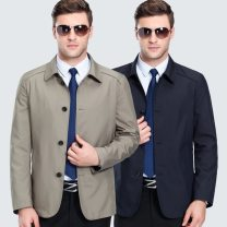 Jacket Oana  Youth fashion Khaki, black and blue 170,175,180,185,190 thin Syncytial type Travel? Spring and Autumn Long sleeves Wear out Lapel Regular (50cm < length & 65cm) Regular sleeve Solid color Button decoration Mingji thread patch bag