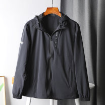 Jacket Other / other Youth fashion black L,XL,2XL,3XL,4XL thin standard Other leisure autumn Long sleeves Wear out Detachable cap youth routine Zipper placket Closing sleeve Solid color nylon