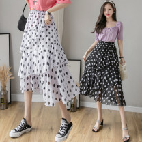 skirt Spring 2021 Average size White, black High waist Cake skirt Dot Type A Chiffon Other / other