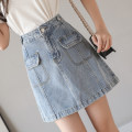 skirt Spring 2021 S,M,L,XL blue Short skirt High waist Denim skirt Solid color Type A 18-24 years old 71% (inclusive) - 80% (inclusive) Denim Other / other cotton 401g / m ^ 2 (inclusive) - 500g / m ^ 2 (inclusive)