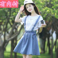 Dress Summer 2020 Light blue detachable (for lining), jacket, light blue (for lining) S,M,L,XL Short skirt singleton  Sleeveless commute other Elastic waist Solid color double-breasted A-line skirt other straps 18-24 years old Type A pattern Retro Pleating Denim