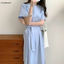 Dress Summer 2021 Blue black white S M L XL longuette singleton  Short sleeve commute Crew neck High waist Solid color Socket A-line skirt routine 25-29 years old Type A Cunhui Ol style Frenulum More than 95% other Other 100% Pure e-commerce (online only)