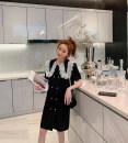 Dress Spring 2021 black M, L Mid length dress singleton  Short sleeve commute Doll Collar Loose waist Dot Socket other routine Type A Korean version