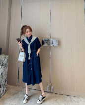 Dress Spring 2021 Picture color M, L Mid length dress Two piece set elbow sleeve commute Polo collar Solid color Single breasted other routine 25-29 years old Type A Korean version pocket Denim