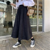 skirt Winter 2020 M L XL black Mid length dress commute High waist Pleated skirt Solid color Type A 18-24 years old MF-37 More than 95% Feimu cotton Pleating Korean version Cotton 100% Exclusive payment of tmall