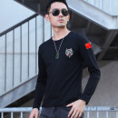 T-shirt youth routine tide Long sleeve Youth fashion Self cultivation routine Other leisure Other V-neck summer Solid color, wolf head, badge cotton Creative interest Fashion brand Embroidery label Non iron treatment 2021