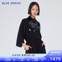 T-shirt black 155/76A/XS 160/80A/S 165/84A/M 170/88A/L Spring of 2019 three quarter sleeve square neck Regular Lotus leaf sleeve Sweet silk 96% and above 25-29 years old other blue erdos B295HC035 Sequins Mulberry silk 100% Same model in shopping mall (sold online and offline) solar system