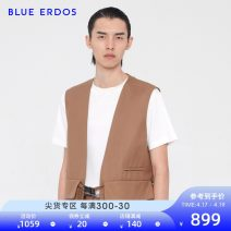 Vest / vest Business gentleman blue erdos light brown Other leisure easy Cotton vest thick autumn V-neck youth 2019 Business Casual Solid color Single breasted Straight hem cotton Cotton 100% Multiple pockets stockinet Digging bags with lids Spring of 2019 90% (inclusive) - 95% (inclusive)
