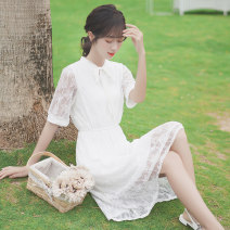 Dress Summer 2020 white S M L longuette singleton  Short sleeve commute Crew neck High waist Solid color Socket A-line skirt routine Others 18-24 years old Type A Pachachi Korean version 51% (inclusive) - 70% (inclusive) cotton Cotton 60% polyamide 40%