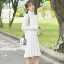 Dress Autumn 2020 white S M L Mid length dress singleton  Long sleeves commute High collar Loose waist Solid color Socket Ruffle Skirt routine 18-24 years old Type H Pachachi Korean version Lotus leaf edge More than 95% other Other 100% Pure e-commerce (online only)