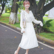 Dress Autumn 2020 Off white S M L longuette singleton  Long sleeves commute V-neck middle-waisted Broken flowers Socket A-line skirt pagoda sleeve 18-24 years old Type A Pachachi Korean version Flounce side, auricular lace up, flower binding, wave button printing More than 95% polyester fiber